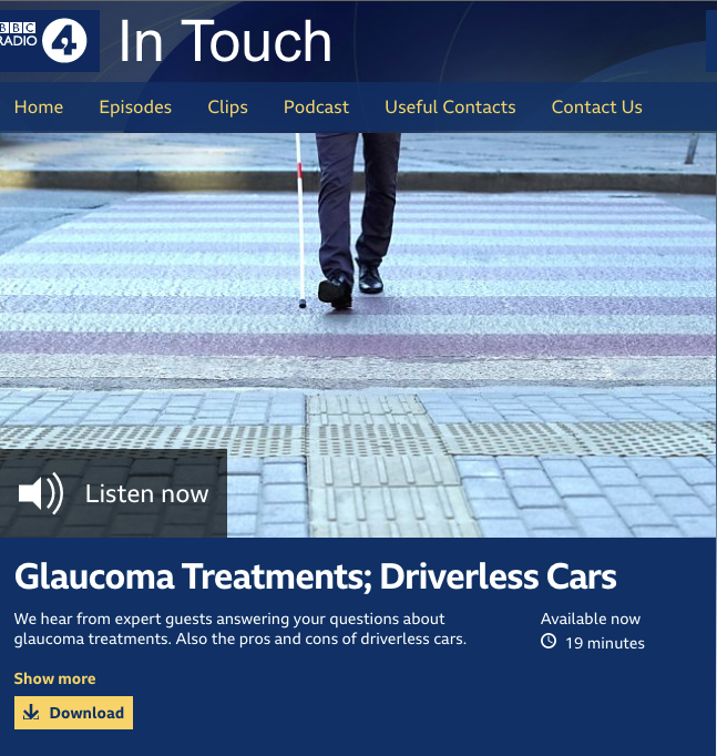 Latest News and Publications BBC Radio 4 In Touch graphic about Glaucoma Treatments